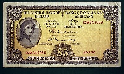 1970 Irish Five pound £5 Central Bank of Ireland banknote Lady Lavery *[12199]