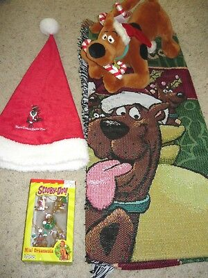 Scooby Doo Christmas Collection Lot Tapestry Throw Blanket Ornaments Plush + Hat