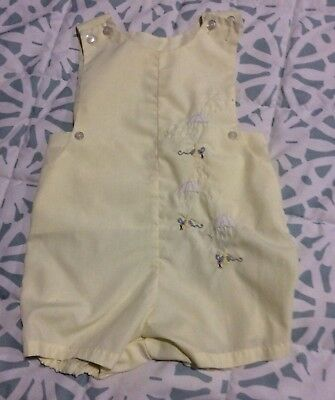 VINTAGE BABY ROMPER YELLOW  SUMMER OUTFIT Parachute Mice VTG BABY BOY OUTFIT