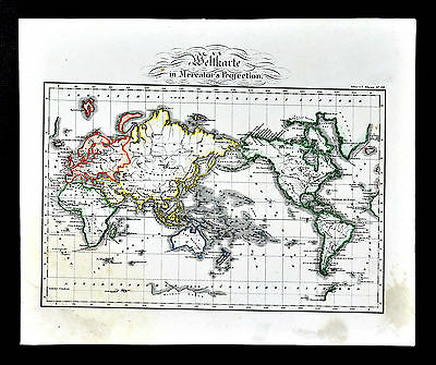 c.1848 Glaser Atlas Map - World North South America Africa Europe Asia Australia