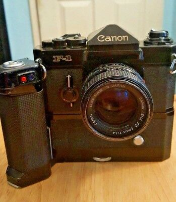 Old Canon F1 (US NAVY) with FD Motor Drive w/ Canon 50mm 1.4 lens