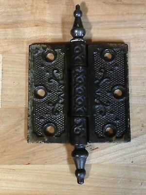 Antique Vintage Cast Iron Ornate Victorian Eastlake 3X3 Door Hinge Part