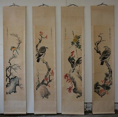 Spectacular Large Chinese Painting Scrolls Signed Master Wang Xuetao Set Of 4 R9