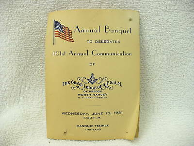91A-Vintage  Grand Lodge Of Af & Am Of Oregon Centennial 1951 Program  #5760