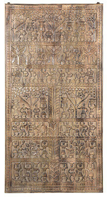 Antique Old Tribal Carved Door  Wall Panel,37'' X 73''h.