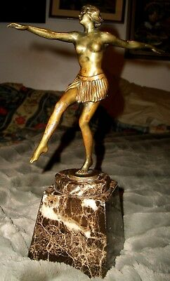 Art Deco Patinated Bronze Nude Lady Dancer Figural Study Veined Marble Base 1920