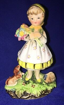 "Antique Vintage Little Girl With Puppy Dog Porcelain Figurine Japan 5"" Tall"