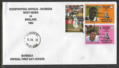 BARBUDA MAIL (ANTIGUA) 1995 CENTENARY ENGLISH CRICKET TOUR 3v FDC (No 2)