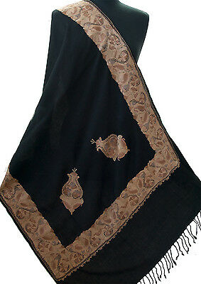 Crewel Embroidered Black Wool Shawl With Golden Hues and Cream Pashmina Style