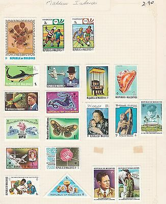 MALDIVES ISLANDS COLLECTION  on Old book Pages, as per scan, USED #