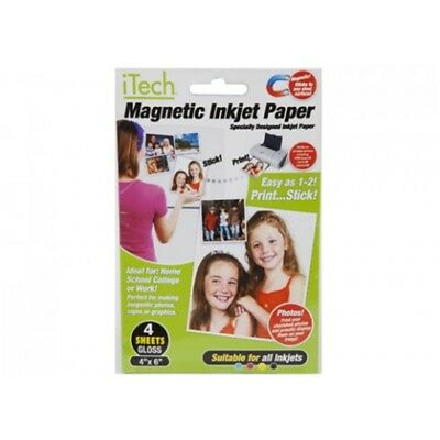 """Pms 4pc Pack Gloss Magnetisches Fotopapier 6 """"x 4"""" In Prtd Slee -"""