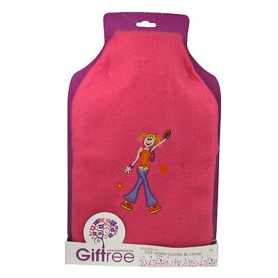 Hot Water Bottle with Cover Rubber Fleece Cosy Gift 2 Litre Fabulous Pink