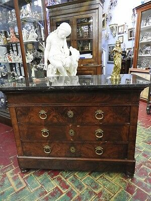 Authentic Antique Dresser Carlo X Feather Walnut Paris Marble Black Period 800