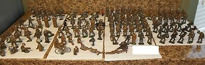 LOT of 129 original OLD lead soldier military toys RIFLES HORSES CAMO ++ Manoil