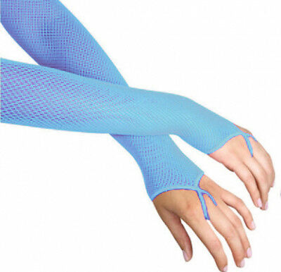 Blue Fishnet Arm Warmers Disco Rave Fancy Dress Accessories - Leg Avenue