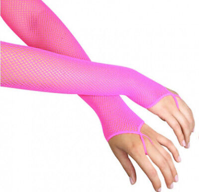 Neon Pink Fishnet Arm Warmers Disco Rave Fancy Dress Accessories - Leg Avenue