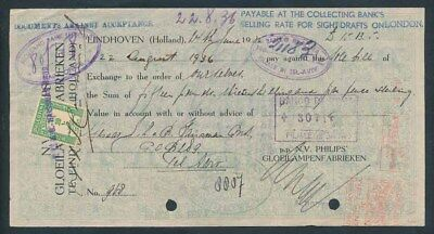 Palestine: JUDAICA 1936 RARE Cheque from the Philips Factory with Duty Stamp