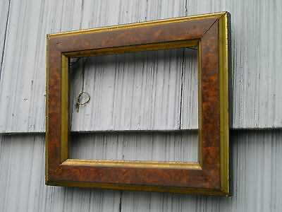 Antique Aesthetic Eastlake Victorian Brown~Burl with Gilt Gold Picture Frame 6~8