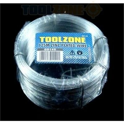125m x 0.7mm Toolzone Zinc Galvanised Wire - Plated Picture Hanging Garden Tie