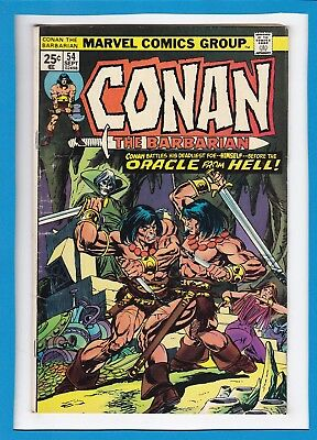 """Conan The Barbarian #54_Sept 1975_Fine Minus_""""the Oracle From Hell""""_Bronze Age!"""