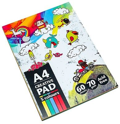 60 Sheet A4 Creative Multi Coloured Pad Scrapbook Collage Art Kids Paper Draw
