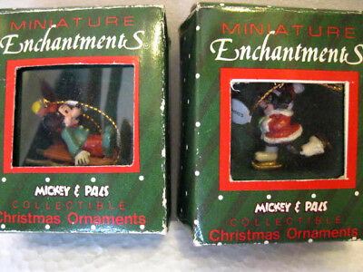 Disney Miniature Set of 2 TWO Mickey and Minnie Ornaments - by Applause