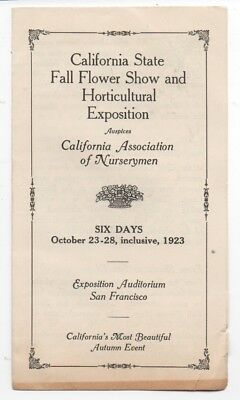 1923 Brochure from the California Flower Show & Horticultural Expo SF CA