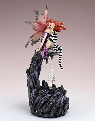 """Fairy With Glass Crystal LED Lights Figurine Statue 8.25"""" High Resin New In Box"""