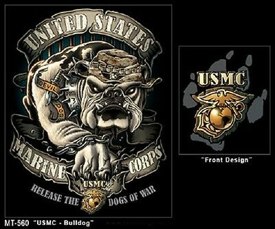 US BLACK INK  USMC BULLDOG Army Marine Corps USA TSHIRT BLACK SHIRT XL / XLARGE