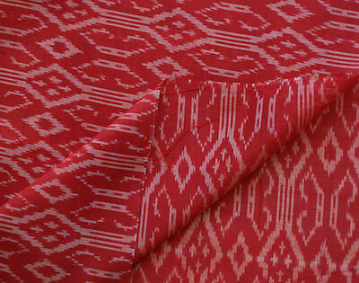 """Gothic Crosses. Red Silk Cotton Ikat. Natural Fiber Hand Woven Soft Fabric 44"""""""