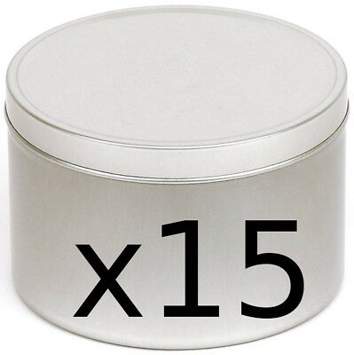 15 silver coloured, seamless, solid lid, candle making tins 100ml ~ 64 x 45mm