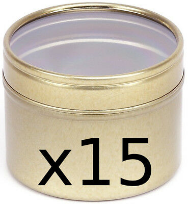 15 gold coloured, seamless, CLEAR lid, candle making tins 100ml ~ 64 x 45mm