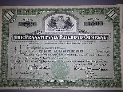 1950's Pennsylvania Railroad stock certificate with PA state seal vignette