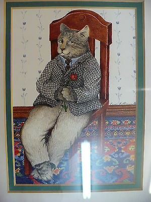 Jj-  Vintage Dressed Cat Framed Bottman Design (Questionable Motives) #14475