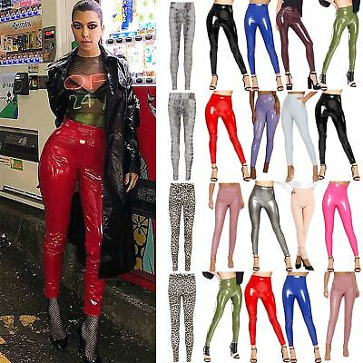 Womens Ladies Vinyl PVC WetLook Shiny Disco Elasticated High Waist Leggings Pant