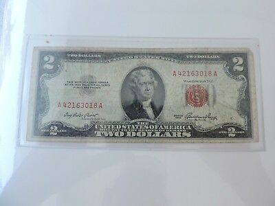 1953 $2 Dollar Bill Old Us Paper Money Currency Red Seal Collector Note  P#12