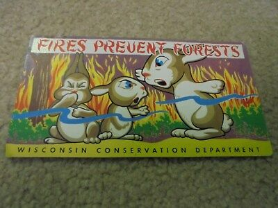 Vintage Fires Prevent Forests Wisconsin Conservation Department Ink Blotter