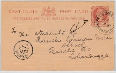 India - 1/4 A. stationery card w/priv. printing, Calcutta - Ranchi 1892