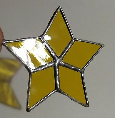 Homemade Stained Glass Yellow Star Suncatcher Tiffany Technique 3 1/2 inches