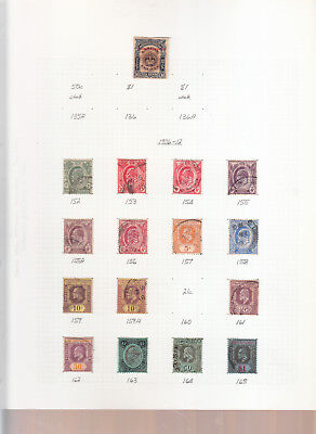 Straits Settlements Album Page Edward 7Th Values 1906-12 Between Sg152-Sg165