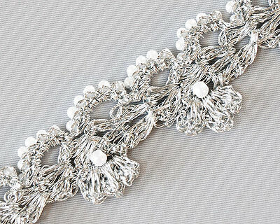"Handmade Trim. Delicate Braid. Passementerie. Silver.  3 Yards, 1/2"" wide"