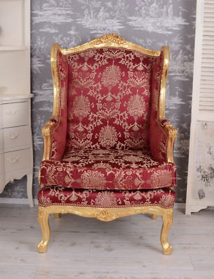 Wing Chair Antique Style Baroque Chair Sun King Red