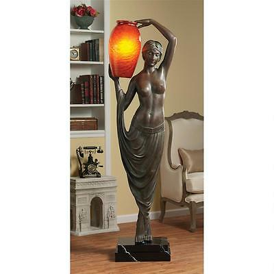 "Art Deco Replica Maiden of Light Graceful Lady 70"" Sculpted Floor Lamp Sculpture"
