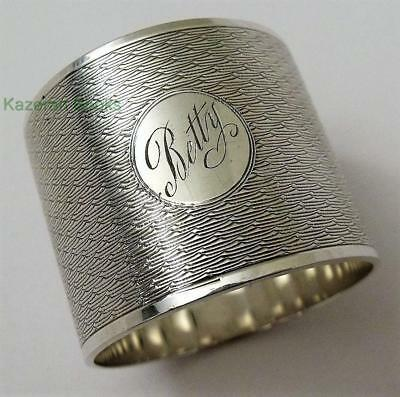 Heavy Vintage Solid Sterling Silver Napkin Ring 'Betty' In Original Box 1931