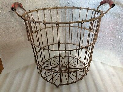 Vintage Tall Rusty Metal Basket with Double Red Rubber Handles