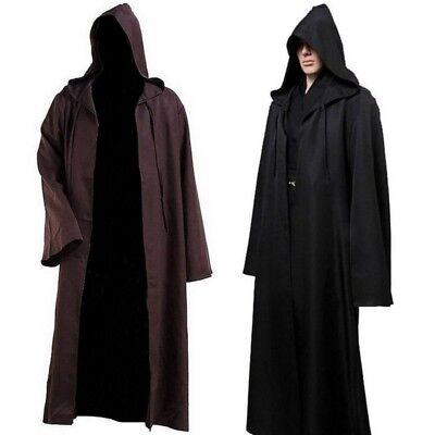 Adult Halloween Cape Hooded Cloak Fancy Dress Deluxe Wicca Props Gothic Robe UK