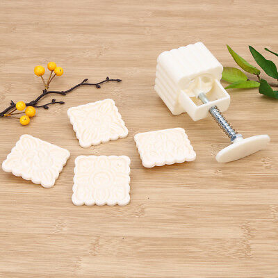 100g Mooncake Mold w/ 4 Flower Stamps DIY Baking Pastry Square Moon Cake Mould