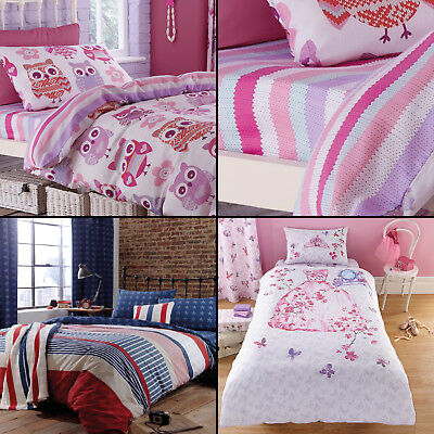 Catherine Lansfield Children Cotton Rich Fitted Sheets Princess Owls Stars