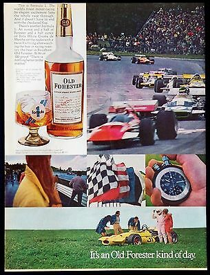 1971 Old Forester Bourbon Whiskey Original Magazine Ad Formula 1 Racing