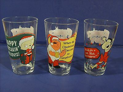 The Family Guy Christmas Drinking Glasses Great Condition